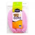 """Clean Wrap """"Inaus"""" Мочалка-варежка для тела из вискозы c подкладом на резинке, жесткая, массажная, 12 х 17 см, 2 шт."""
